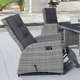 Outdoor Garden Furniture Patio Single Rattan Wicker Adjustable Recliner Lounge Chairs With Footrest