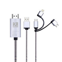 SIPU 3in1 New 1.8m 2K 60HZ USB 3.1 hdmi to phone and tv mirror cable