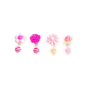 New trendy Amazon Popular ear clip earrings for girls flower Resin clip earrings