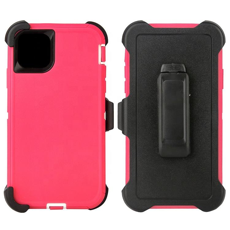 Free Sample 4 Layer Armor Defender Mobile Phone Case Cover With Belt Clip For IPhone 11 pro max 6.5