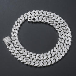 The New European and American Hip-Hop 13mmZircon Cuban Necklace Men's Hip Hop Necklace Single Row Full DiamondCubanChain