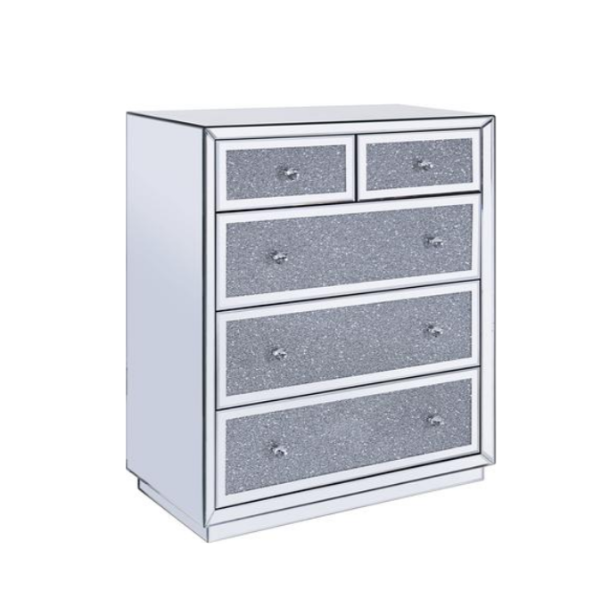 Living Room Furniture Mirrored Sidetable 5 Drawer Crushed Diamond Cabinet for Home Hotel Club