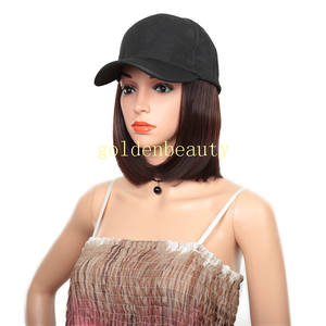 Bob style short Hat wigs with Synthetic Hair Extension straight hair All-in-one Female Hat Cap Wig