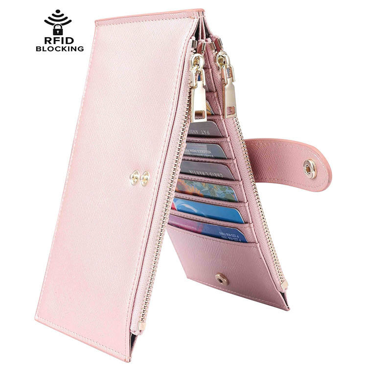 Custom Logo Fashionable Luxury OEM Leather Long Ladies Coin Purse RFID Card Wallets For Women