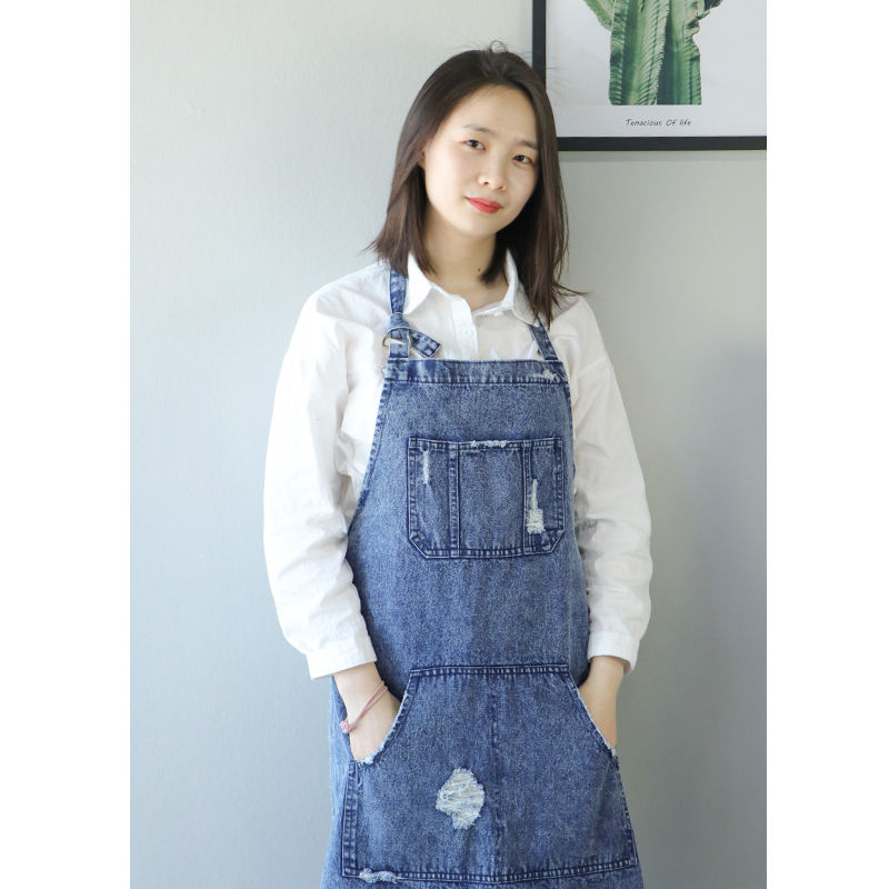 One-Stop Service [ Denim Apron ] Aprons Kitchen Soft And Breathable Eco Friendly Washed Denim Salon Apron Or Kitchen Apron From China Supplier