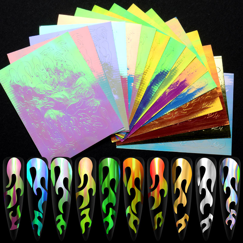 1 PC 8.3*6 cm Foil Wrap Paper French Japan Holographic Aurora Fire Flame Nail Sticker For Nail Art