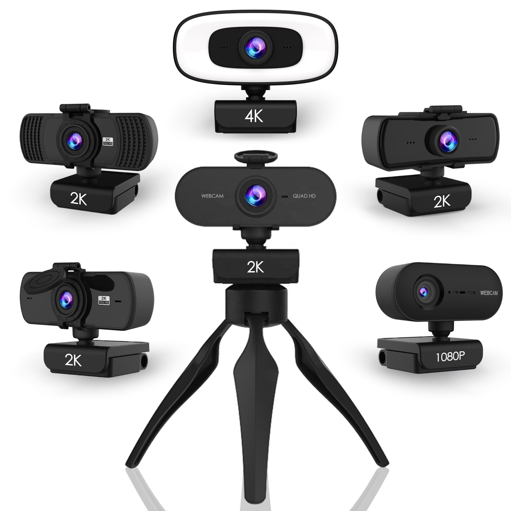 Webcam USB HD 1080P Kamera <span class=keywords><strong>Web</strong></span> Cam dengan Mikrofon Webcam 2K untuk Skype Komputer Tripod Laptop PC Streaming Konferensi Autofocus