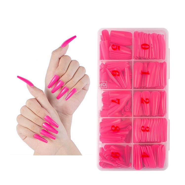 36 Colors Private Label 500pcs/box Coffin Fake Nails Full Cover Artificial Extension Tips Ballerina False Press On Nail Tips