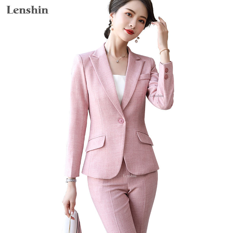 Lenshin 2 Piece Set Formal Pant Suit women Business Long sleeve Candy Colors Blazer and Pant Office Lady Work Uniform Wear