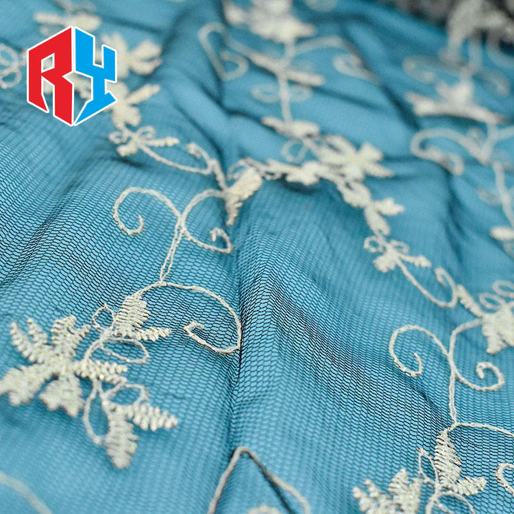 China supplier elegant black swiss garment design net embroidery lace fabric