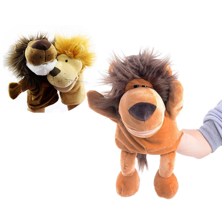 New Creative hand puppet lion toys plush animal shaped stuffed CE and educational for children