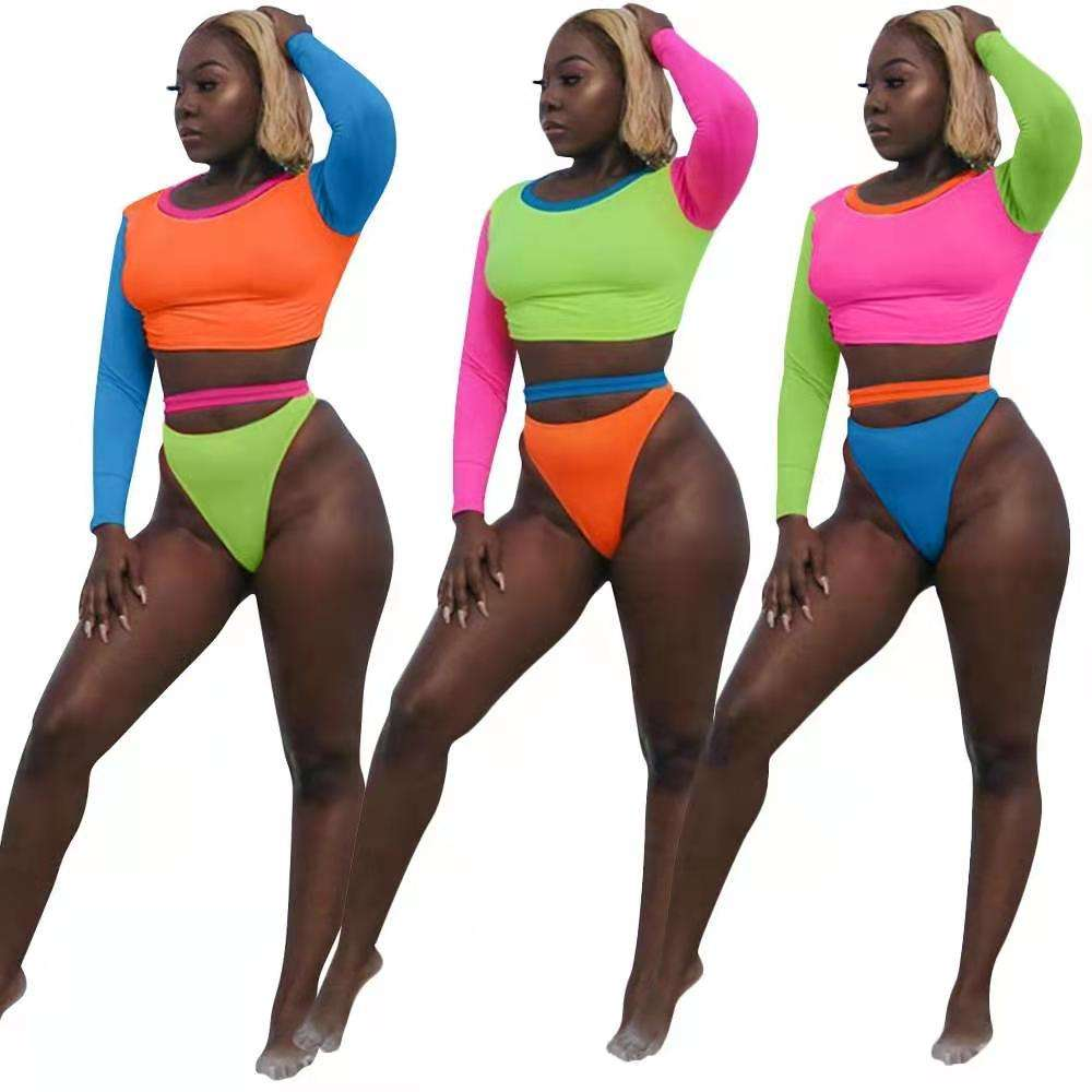 2021 new arrivals Fashion Bikini O-Neck Long Sleeve Crop With Belt Color Patchwork 2 pieces set Beach Wear women Swimsuit