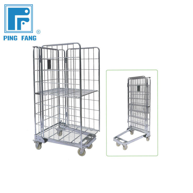 Hoge kwaliteit roll kooi containers, staal cargo opslag roll container, roll container trolleys