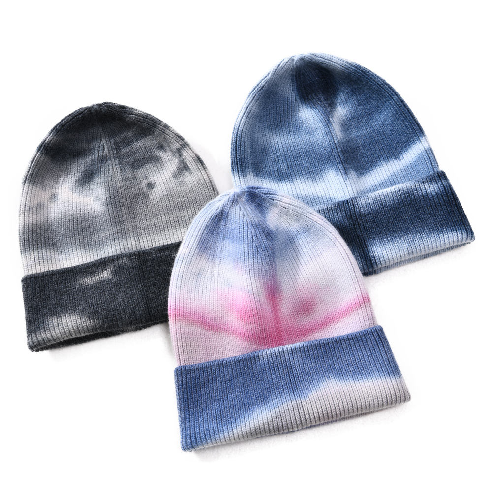 Personalized Custom Logo Fashion Sports Ski Winter Knitted Colorful Tie Dye Beanie Hat Women Winter Cashmere Beanie Tie Dye