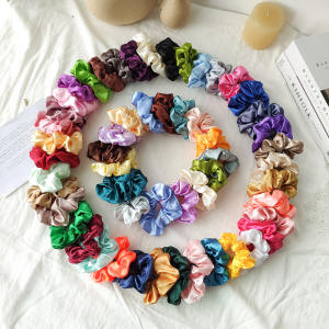 35 Colors Wholesale Women Elastic Hair Bands Cheap Hair Accessories Vintage Scrunchie Headbands Girls Satin Hair Ties