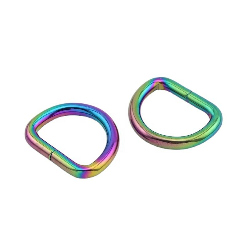 "Nolvo World 12 colors 25*20mm 1"" Iridescent rainbow Metal Handbag Opening D-Ring In Iridescent Rainbow Purse D Rings Wholesale"
