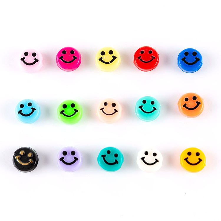GP0948 Popular White Flat plastic acrylic 10mm 500g Rainbow Enamel Smile Face Smiley round disc beads for jewelry DIY