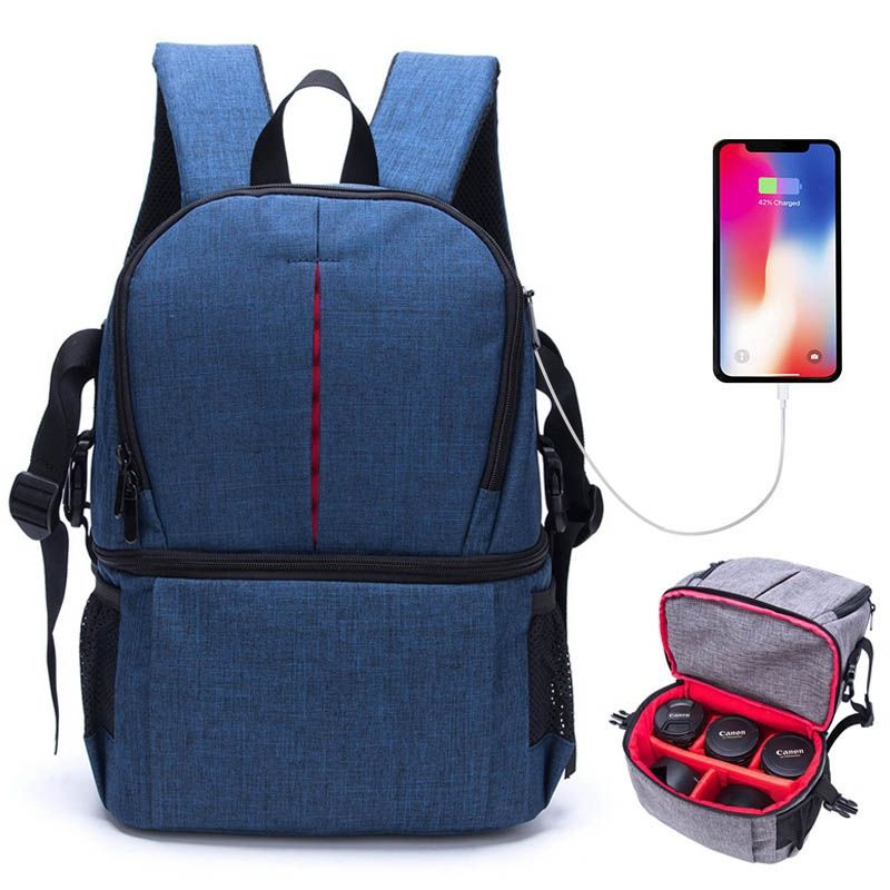 Lower Price Multi-functional Waterproof Nylon Shoulder Backpack Padded Shockproof Camera Case Bag
