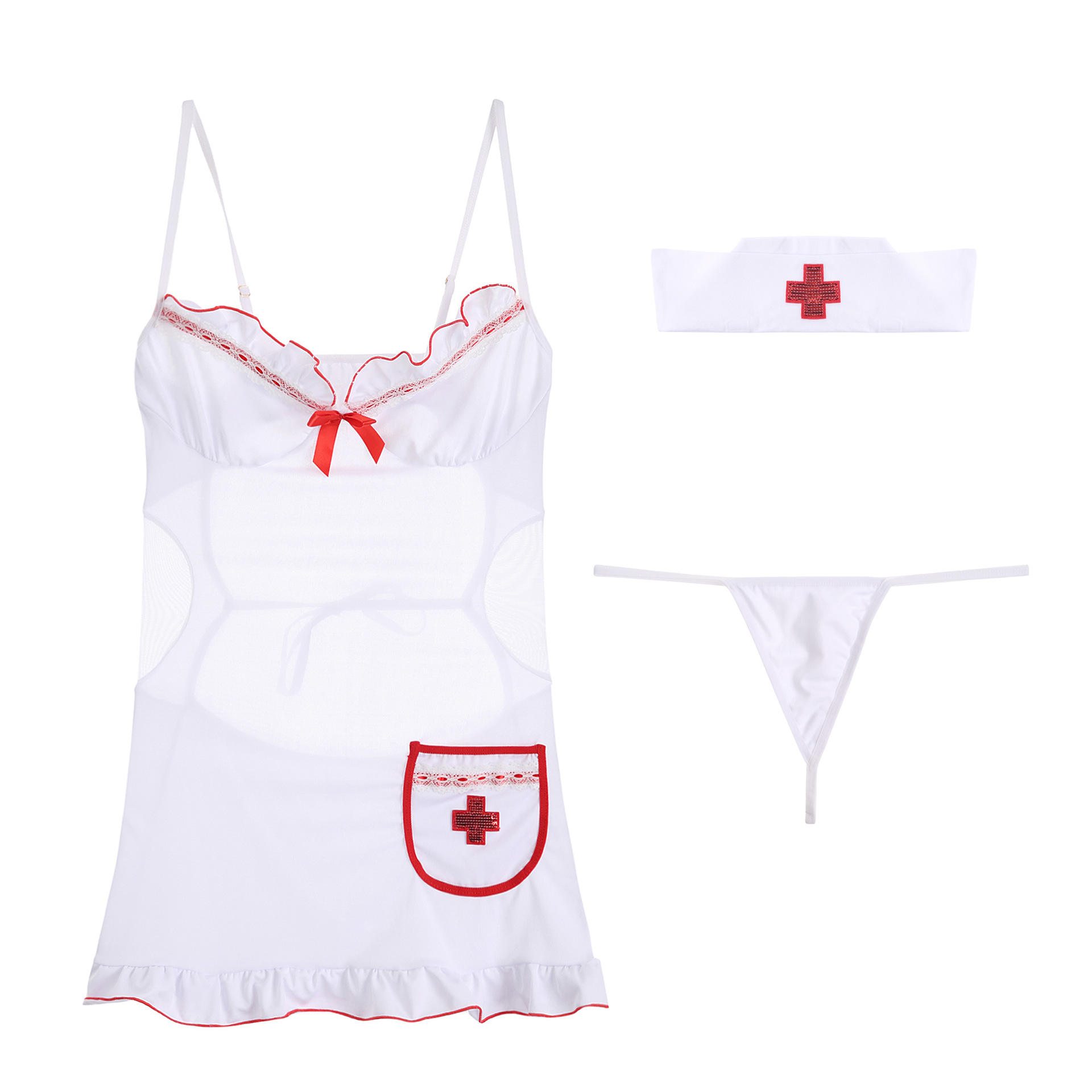 Sexy Erotic Lingerie Female Explosive Breasts Backless Nurse Outfit Temptation Three-point Nun Tight Uniform Suit