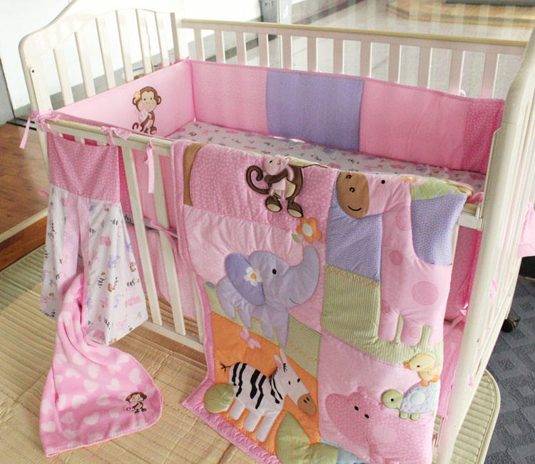 6 pcs embroidery pink monkey fantasy baby crib nursery bedding set for girls home use with comforter and bumpers