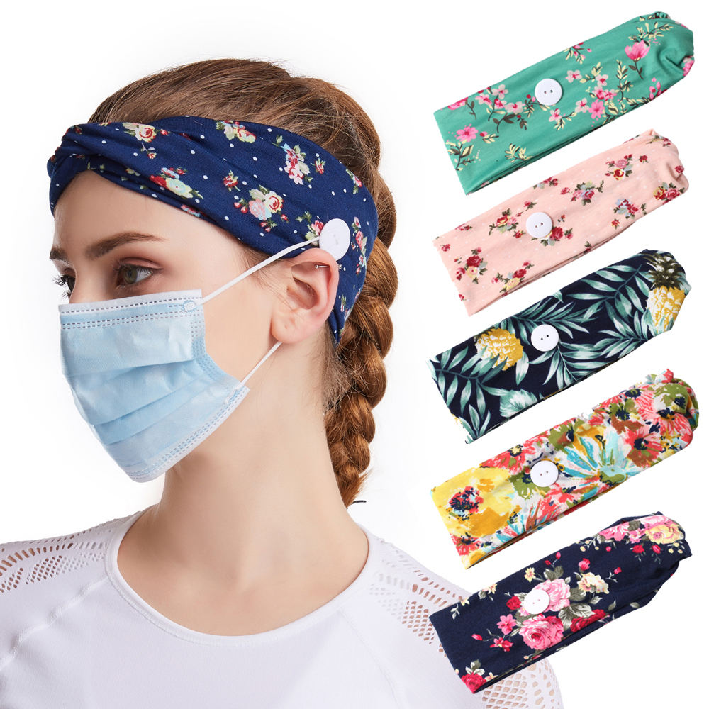 2020 New Arrival Headbands With Buttons Fashion Flower Stretching Sport Yoga Hair Band for Women Custom Elastic Hair Accessories