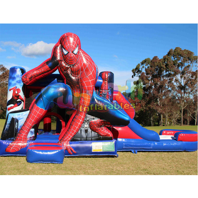 Outdoor commercial kid obstacle toboggan gonflable combo castle inflatable bouncer water slide jumper spiderman bounce house