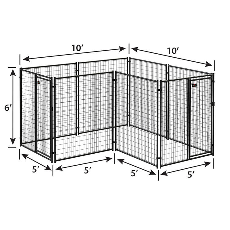 Factory wholesale modular black powder coated steel tube pet crate cages dog boarding kennels