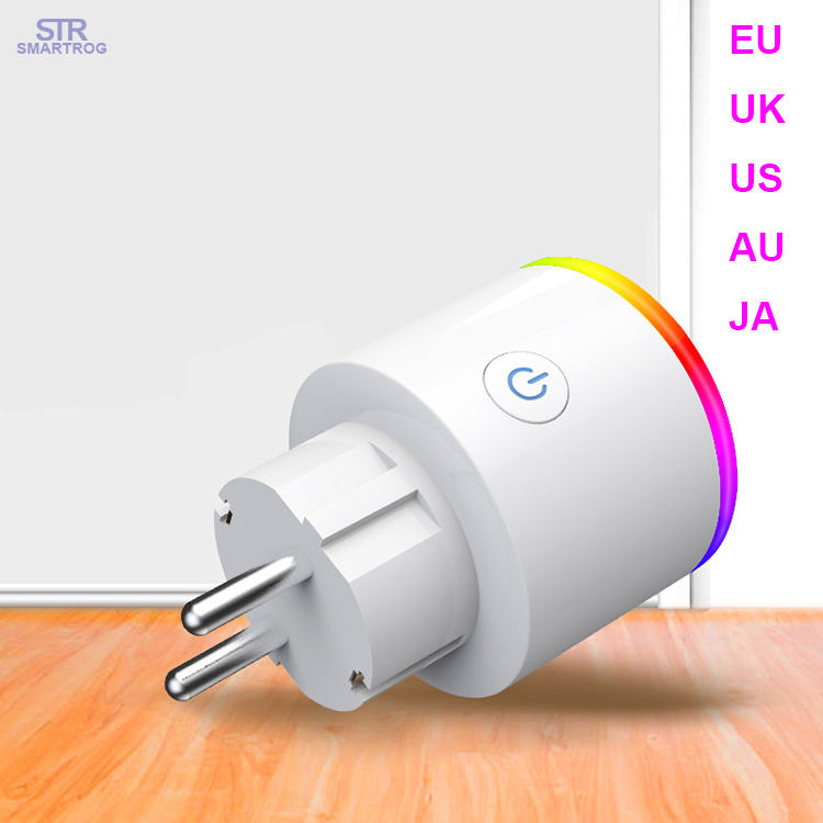 Eu/Uk/AU/US Wifi Smart Plug Socket dengan Lampu Malam LED Tuya Aplikasi