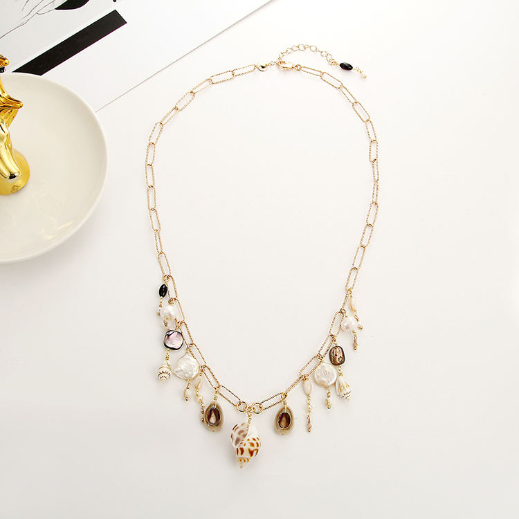 Hot Necklace Jewelry Women Pearl Stone Necklace Gold Plated Natural Shell Necklace Jewelry