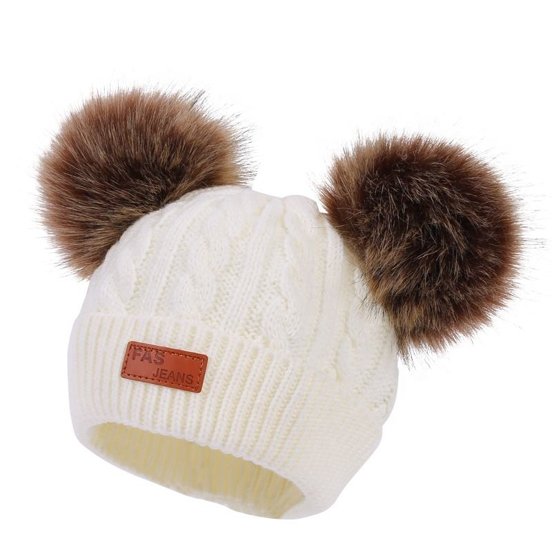 Infant Toddler Baby Cotton Beanie Hats Baby Knit Hat Double Pom Pom Boys Girls Warm Hats For Babys