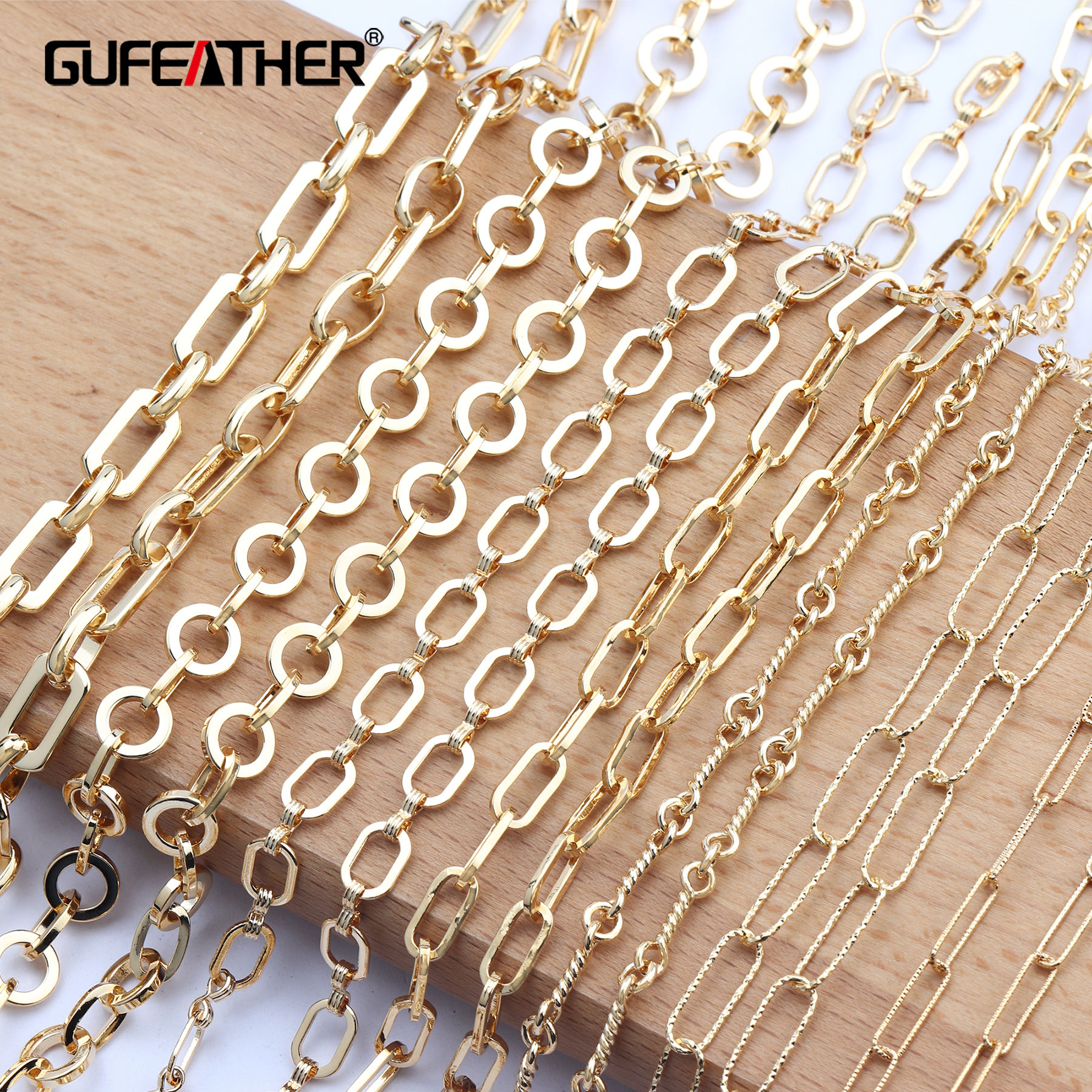 Gufeather C73, the most popular 18k gold plated necklace diy jewelry accessories copper metal chain necklace, 1m / bag