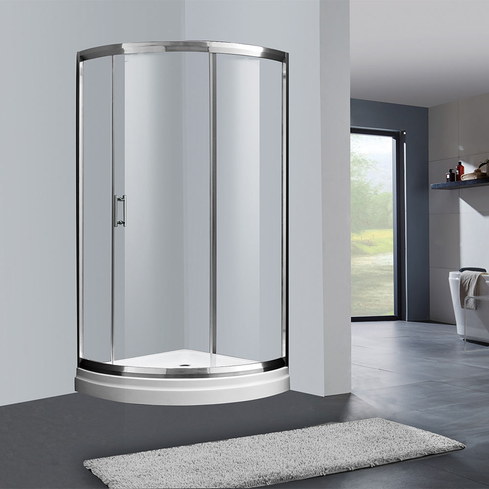 easy sliding wheels shower enclosure, simple shower door parts, quadrant shower room with shower tray JK2309