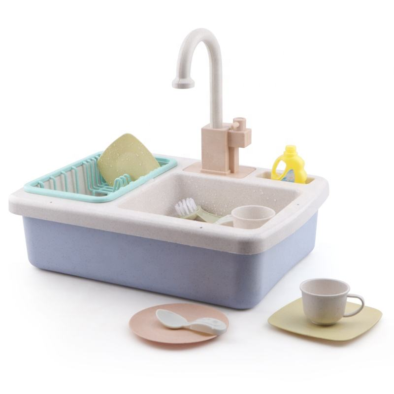 Bioplastic Material Play Kitchen Sink Toys Children Electric Dishwasher Playing Toy with Running Water
