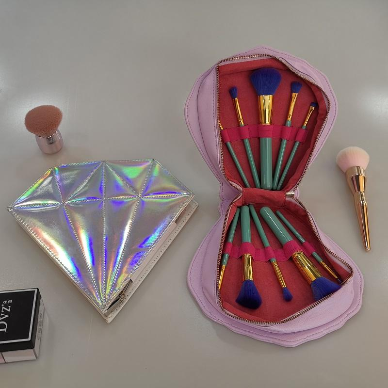 Diamond makeup brush set,shell professional private label cosmetic make up brush with pu bag