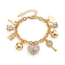 Fashion Heart Beetle Charm Bracelets Bangles For Women Gold Plated Bracelet Austrian Crystal Chain Pulseras SBR140221