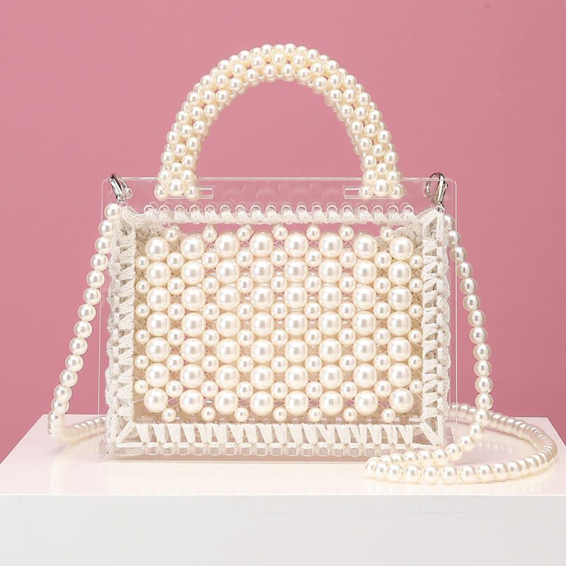 2020 Luxury Designer Clear Plastic Beaded Pearl Acrylic Shoulder Bag Wedding Bridal Handbag Women Party Handbag Evening Bag