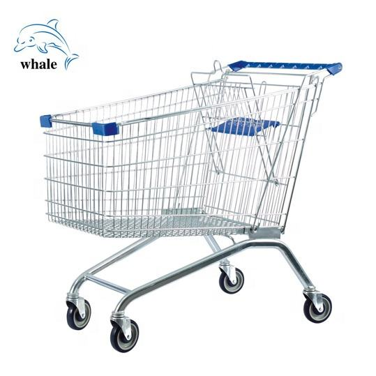 Convenience Store Trolley Shop 4 Inch PU Caster Supermarket Grocery Shopping Carts Trolley European Shopping Trolley