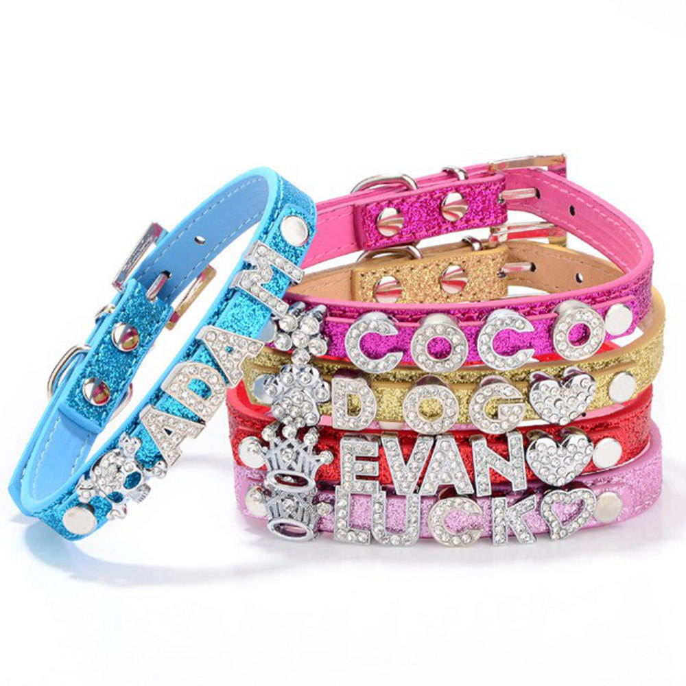 Wholesale DIY Name Personalized Rhinestone Pet Dog / Cat Collar with Slide Letter