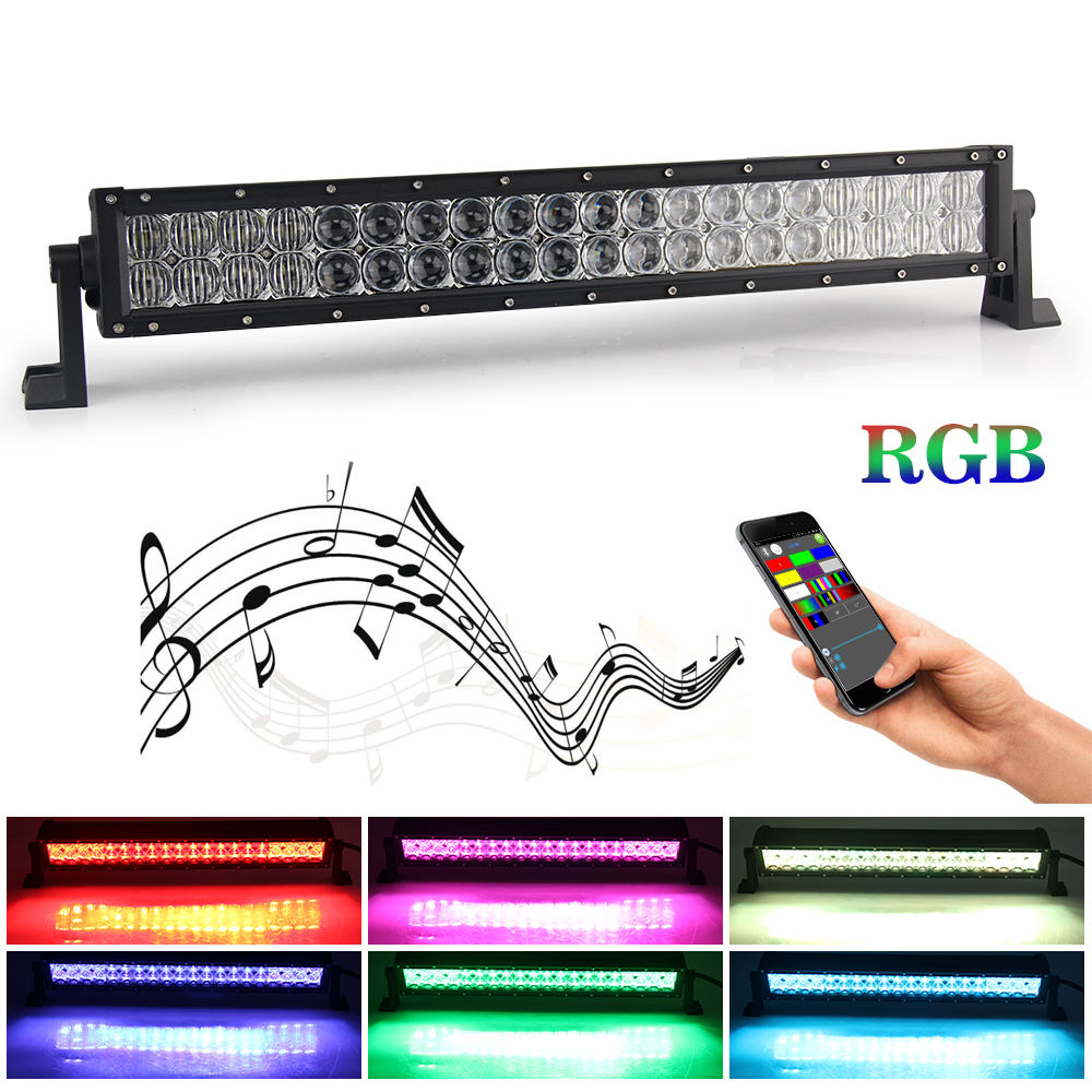 Dual Rows Multi Truck Color Changing Rgb Chase 22 32 42 52 inch 5D Led Light Bar