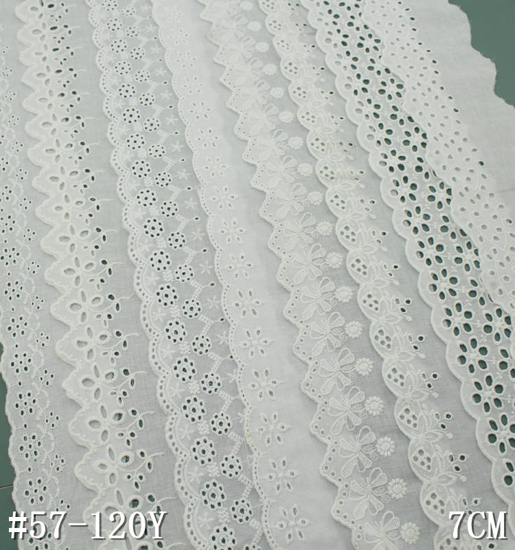 Hight quality lace materials white embroidered eyelet cotton lace trimmings