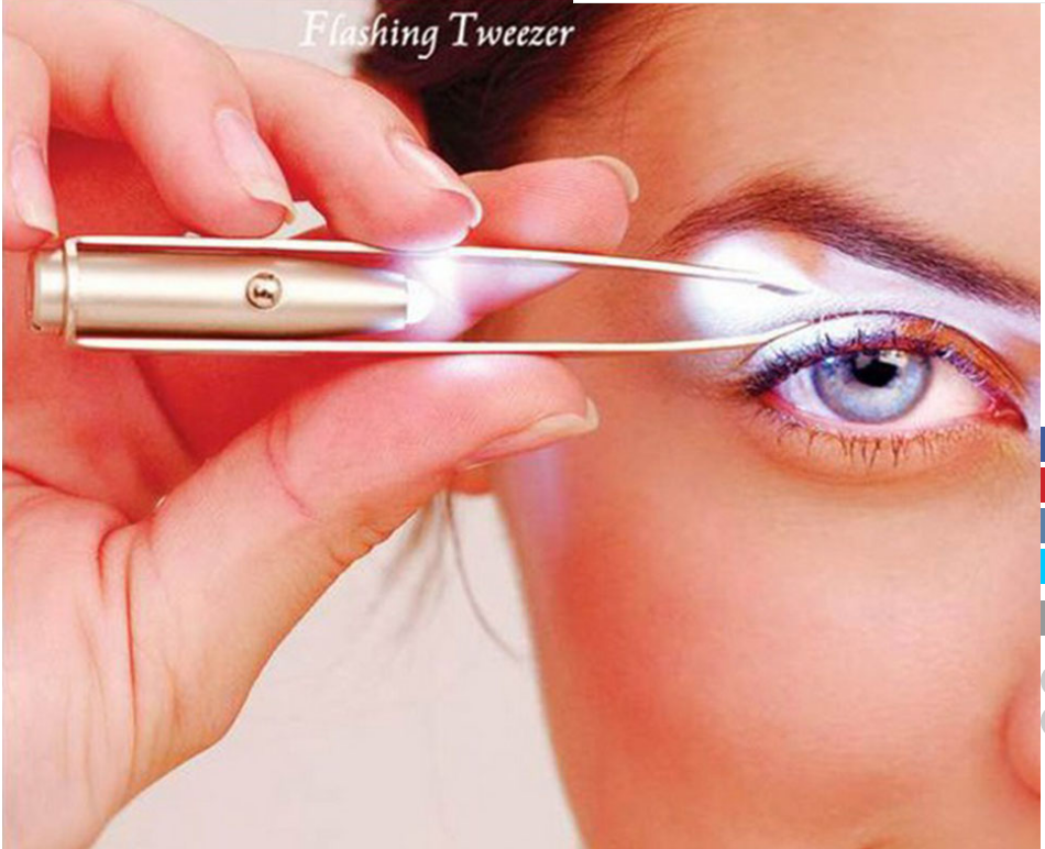 LED Eyebrow Tweezers Eyebrow Hair Remover Make Up Led Light Eyelash Face Hair Remover Stainless Steel Tweezer