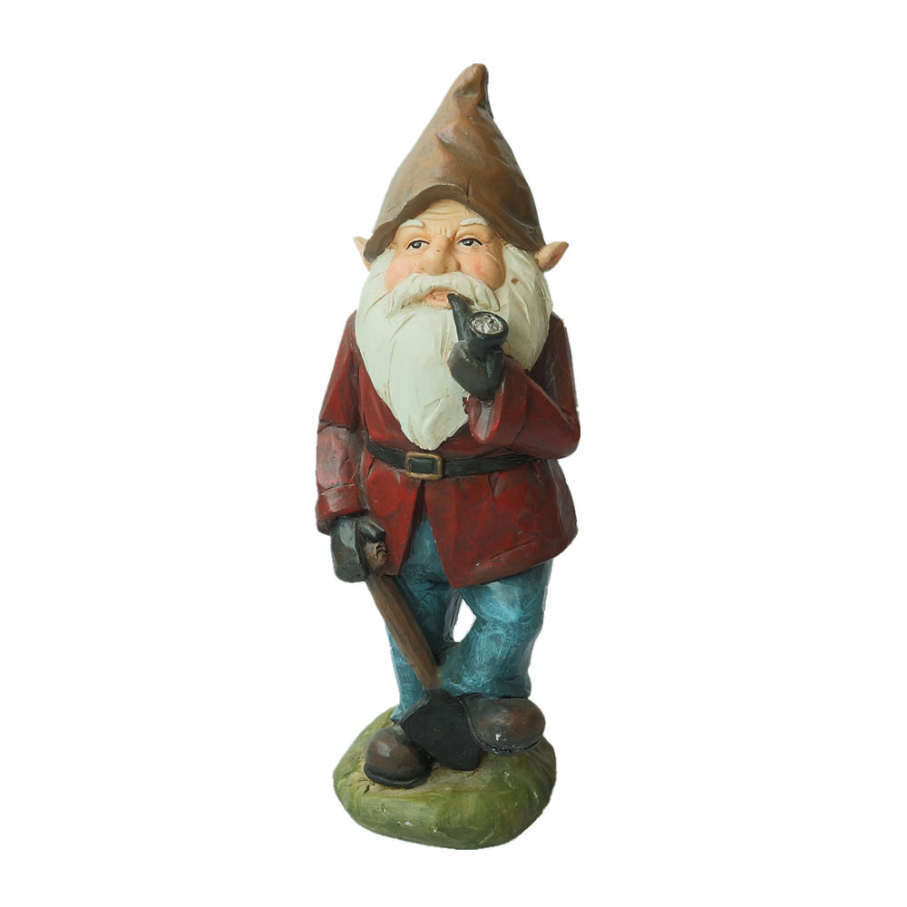 Garden Decoration Gnome Sculpture Resin Craft Cute Gnome Figurine with a Shovel Polyresin Gnome Statue with Pipe