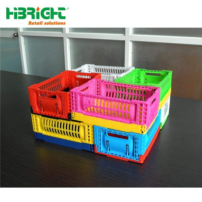 mini size colorful small plastic folding collapsible home stuff storage crates for promotion