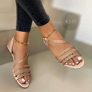 ladies summer flat pour femmes rhinestone sexy bling sandals shoes for women's