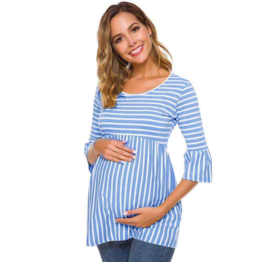 Women's Long Sleeve Striped Nursing Maternity Tops