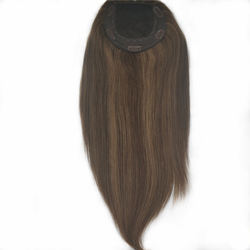 Balayage Brown Color straight Skin Top  Human Hair Clips in Topper Hair Replacement For Hair Loss Women