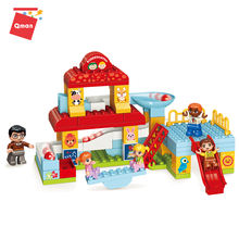 Qman Happy Kindergarten Scence Model enlighten education toy building blocks