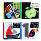 4 Pcs Black White color educational cloth book baby soft fabric toy