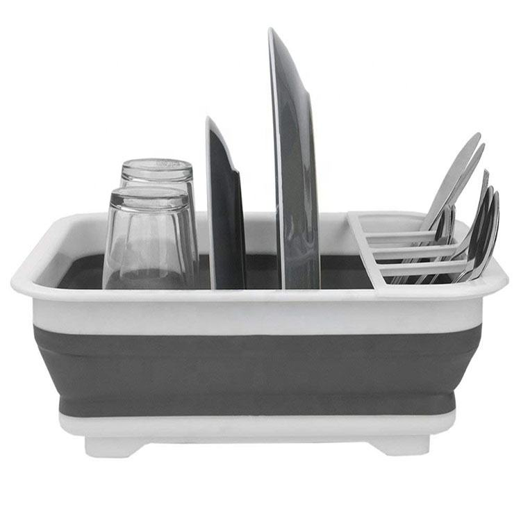 Top Seller Foldable Useful Collapsible Dish Rack&Drainer With Drainer Board
