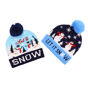 Children snowman Christmas trimmed with ball knit cap with LED colorful lights decorative hats funny product yiwu christmas hat